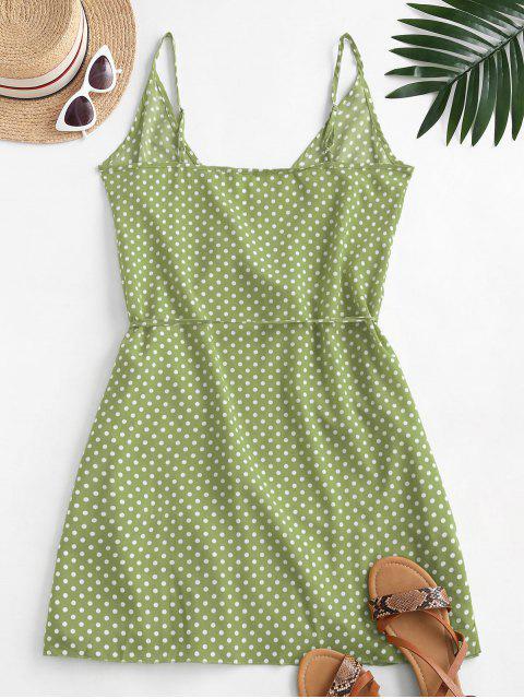 women Polka Dot Spaghetti Strap Wrap Dress - SALAD GREEN M Mobile