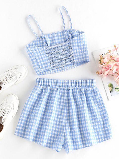 online ZAFUL Gingham Mock Button High Waisted Shorts Set - LIGHT BLUE M Mobile