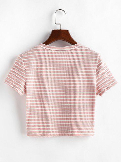 ZAFUL Crop T-Shirt mit Streifenmuster - Pink XL Mobile