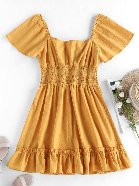 fancy ZAFUL Smocked Ruffle Flutter Sleeve Mini Dress - YELLOW M Mobile