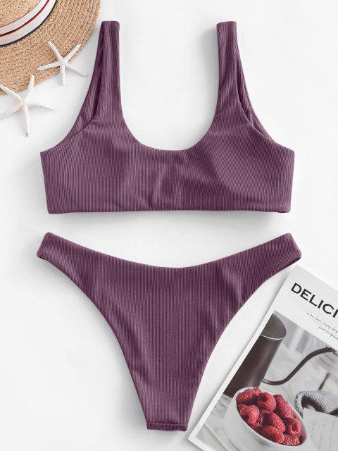 sale ZAFUL Bow Ribbed Bikini Swimsuit - DULL PURPLE S Mobile