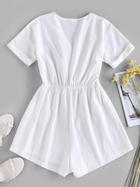 online ZAFUL Tied V Neck Rolled Cuffs Wide Leg Romper - WHITE M Mobile