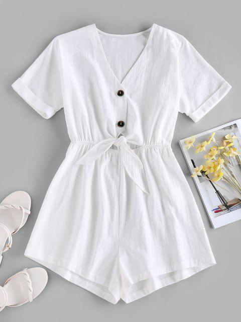 sale ZAFUL Tied V Neck Rolled Cuffs Wide Leg Romper - WHITE L Mobile