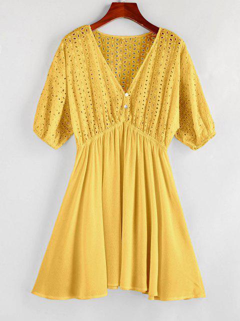 ZAFUL Eyelet Batwing Sleeve Plunging Mini Dress - المطاط الحبيب الأصفر S Mobile