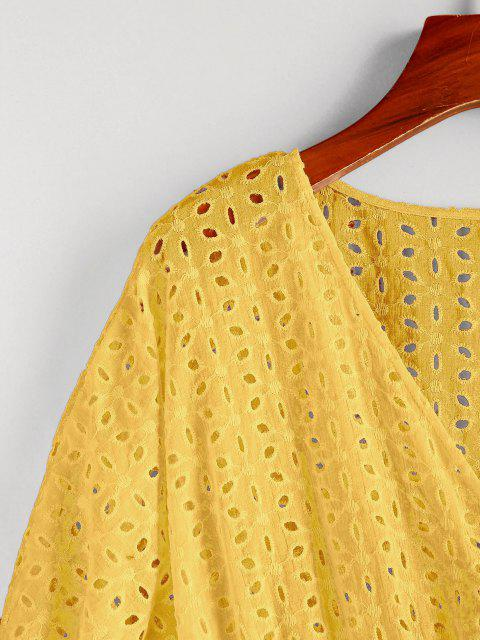 women ZAFUL Eyelet Batwing Sleeve Plunging Mini Dress - RUBBER DUCKY YELLOW M Mobile