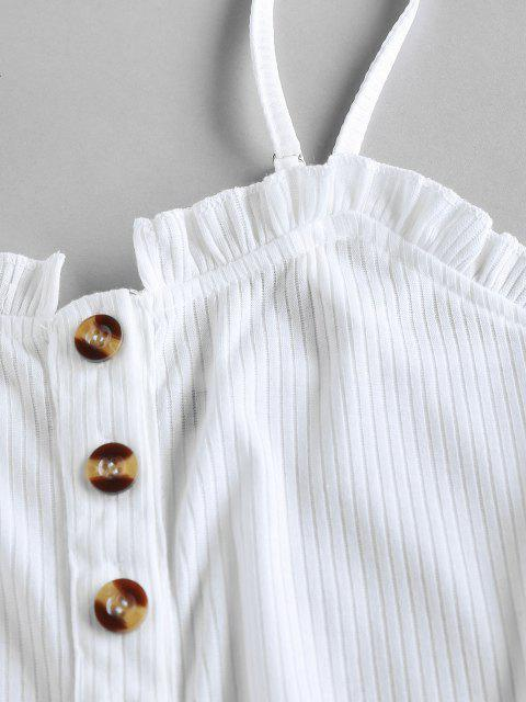 women ZAFUL Button Placket Frilled Ribbed Bodysuit - WHITE XL Mobile