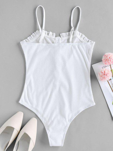 new ZAFUL Button Placket Frilled Ribbed Bodysuit - WHITE M Mobile