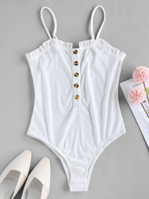 chic ZAFUL Button Placket Frilled Ribbed Bodysuit - WHITE S Mobile
