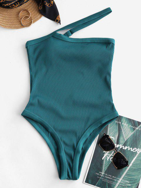 ZAFUL Textured Ribbed One Shoulder One-piece Swimsuit - الطاووس الأزرق S Mobile