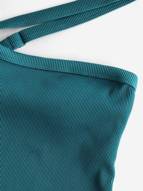 ZAFUL Maillot de Bain Côtelé Texturé à Une Epaule Une-Pièce - Paon Bleu XL Mobile
