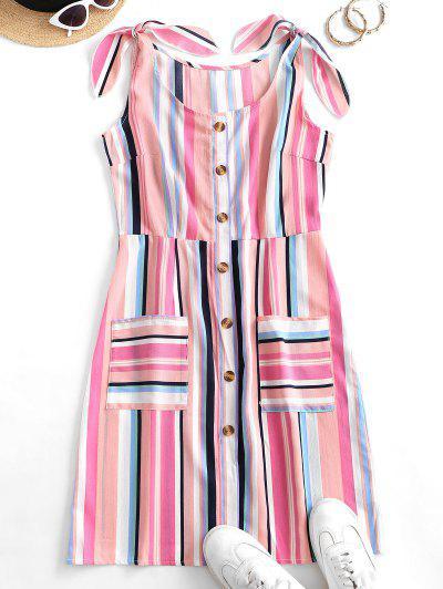Robe Nouée Boutonnée Rayée Colorée Avec Poche - Multi-a L