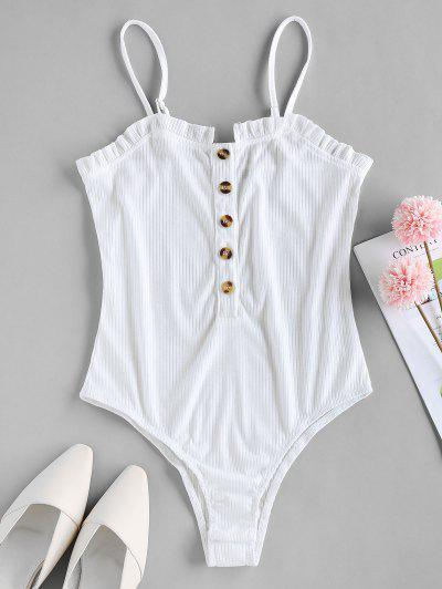 ZAFUL Button Placket Frilled Ribbed Bodysuit - White S