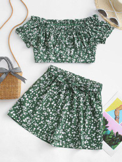 ZAFUL Belted Ditsy Floral Off Shoulder Two Piece Set - Shamrock Green M