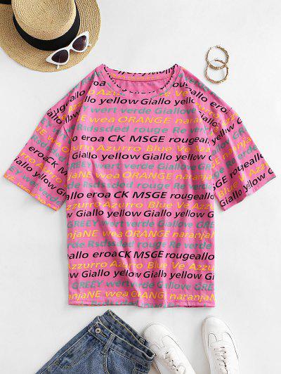 Letter Graphic Drop Shoulder Loose T-shirt - Pink Xl