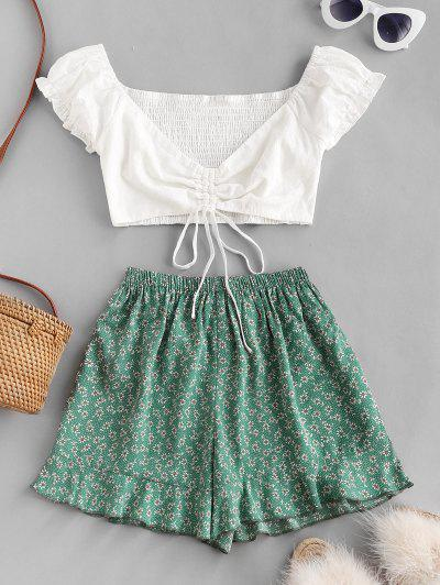 Ditsy Print Cinched Ruffle Loose Shorts Set - Clover Green S