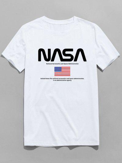 ZAFUL T-shirt Graphique Drapeau Américain à Manches Courtes - Blanc 2xl