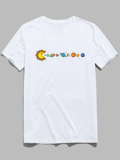 T-Shirt Di ZAFUL Stampata Pianeta Con Maniche Corte - Bianca 2xl