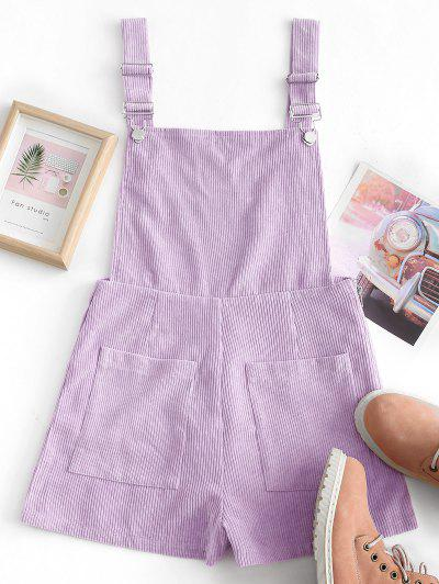 Dual Pockets Tie Dye Corduroy Pinafore Romper - Purple S