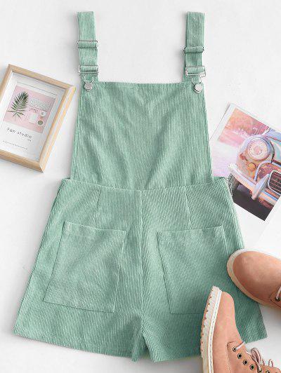 Dual Pockets Tie Dye Corduroy Pinafore Romper - Green M