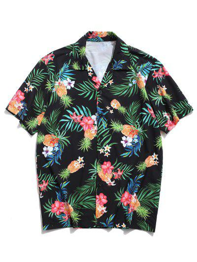 Tropical Leaf Floral Pineapple Print Vacation Shirt - Black L