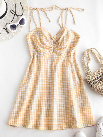 ZAFUL Gathered Front Tie Shoulder Smocked Plaid Dress - Yellow L