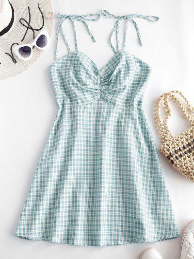 ZAFUL Gathered Front Tie Shoulder Smocked Plaid Dress - Green L