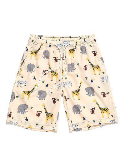Cartoon Animal Printing Drawstring Shorts - Warm White S