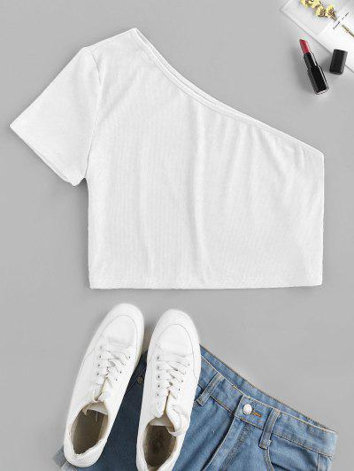 ZAFUL Ribbed One Shoulder Crop T-shirt - White M