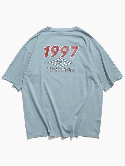 Short Sleeve Letter Graphic Print Basic T-shirt - Light Blue M
