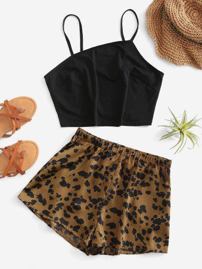 Leopard Pocket Wide Leg Shorts Set - Black L