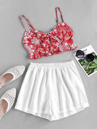 ZAFUL Plant Print Knot Smocked Two Piece Set - Lava Red S