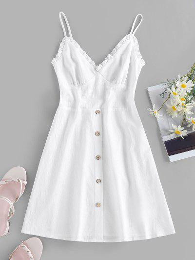 ZAFUL Frilled Buttoned Smocked Sundress - White M