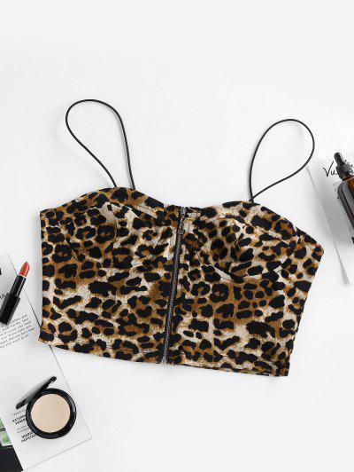 ZAFUL Leopard Zip Bungee Straps Cami Top - Leopard L