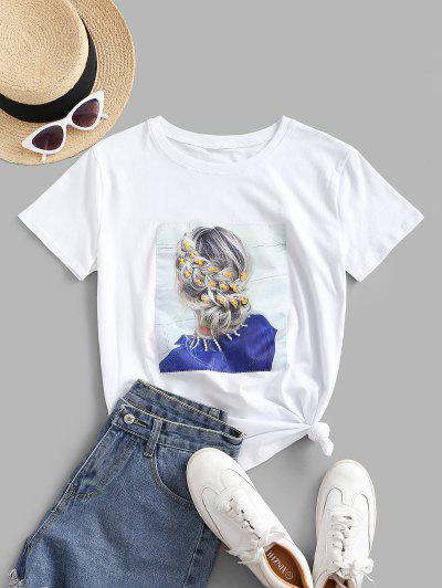Sequined Figure Patch Tee - White S