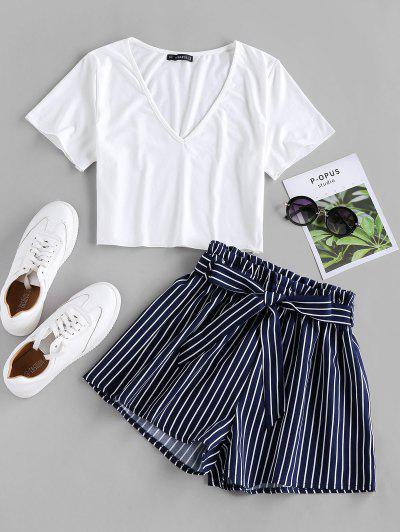 ZAFUL Belted Striped Two Piece Set - Cadetblue M