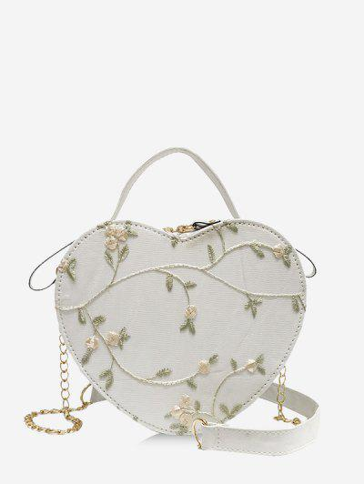 Heart Shape Embroidery Crossbody Bag - White