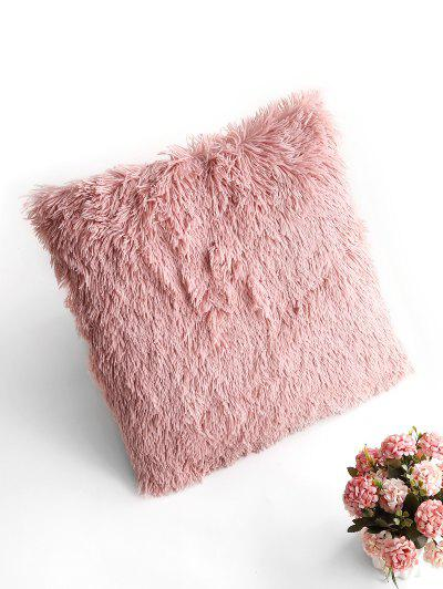 Square Plush Throw Pillowcase - Pink W18 X L18 Inch