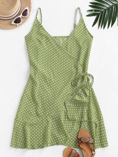 Polka Dot Spaghetti Strap Wrap Dress - Salad Green M