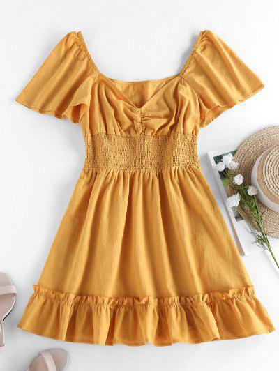 ZAFUL Mini Vestido De Tecido Franzido Com Mangas Longas - Amarelo M
