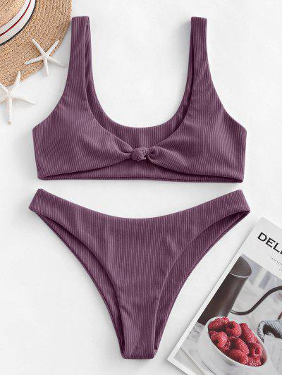 ZAFUL Bow Ribbed Bikini Swimsuit - Dull Purple L