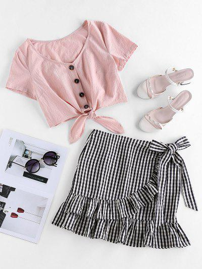 ZAFUL Gingham Knotted Ruffle Overlap Two Piece Set - Sakura Pink M