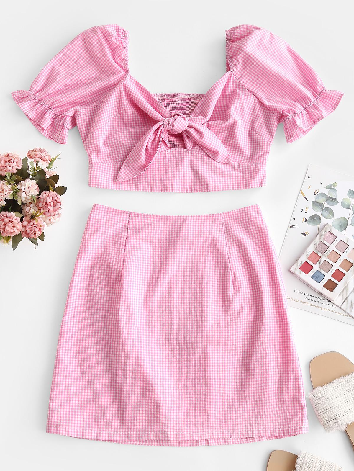 Tie Front Smocked Back Gingham Two Piece Dress