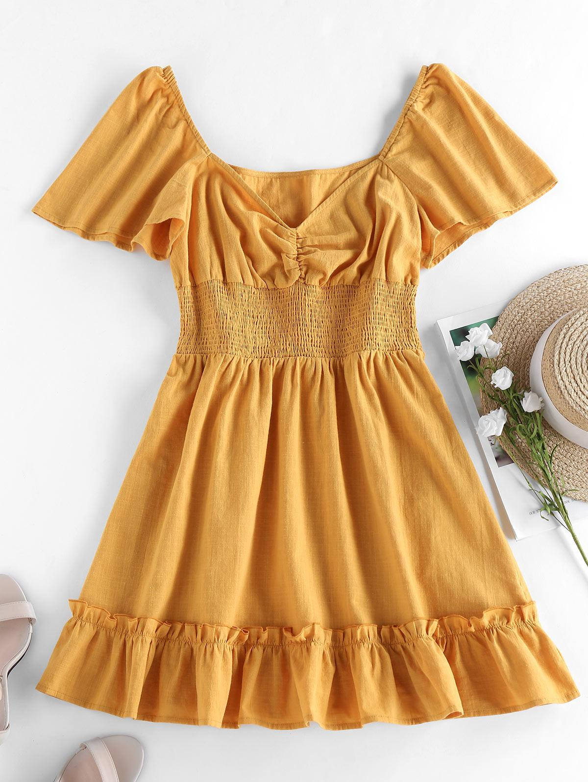 ZAFUL Smocked Ruffle Flutter Sleeve Mini Dress