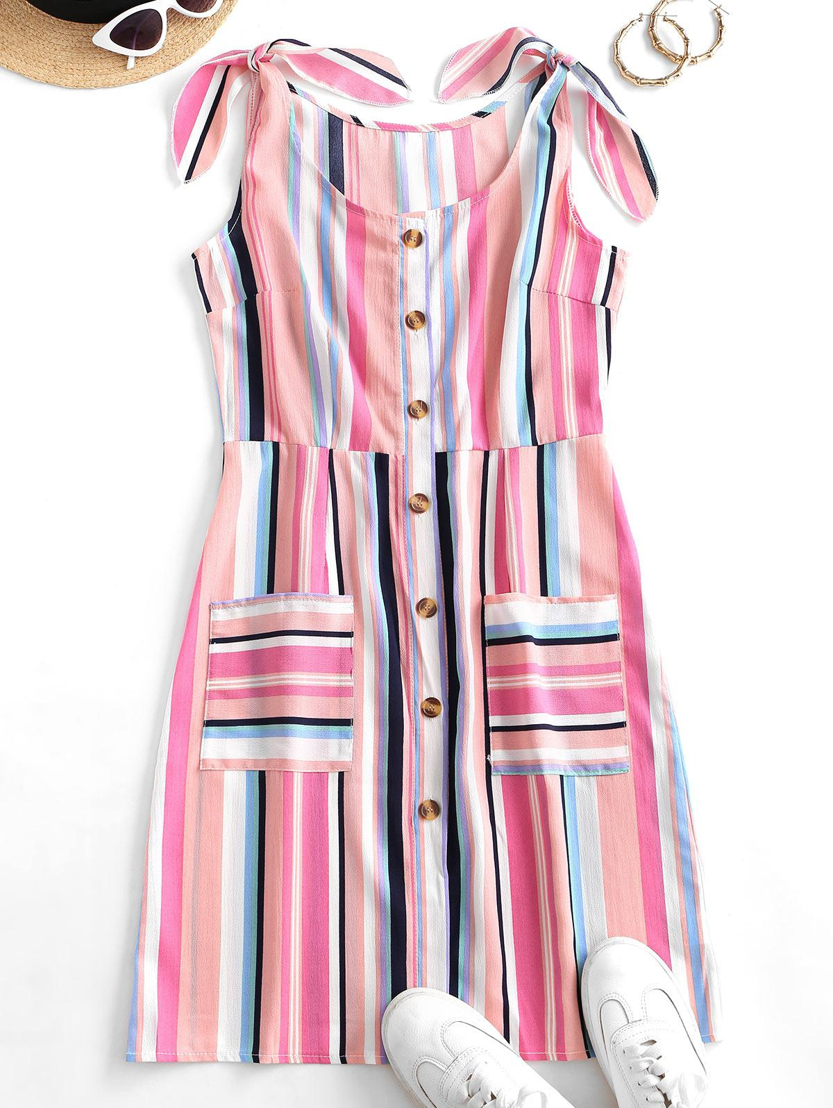 Colorful Striped Button Through Pocket Tied Dress