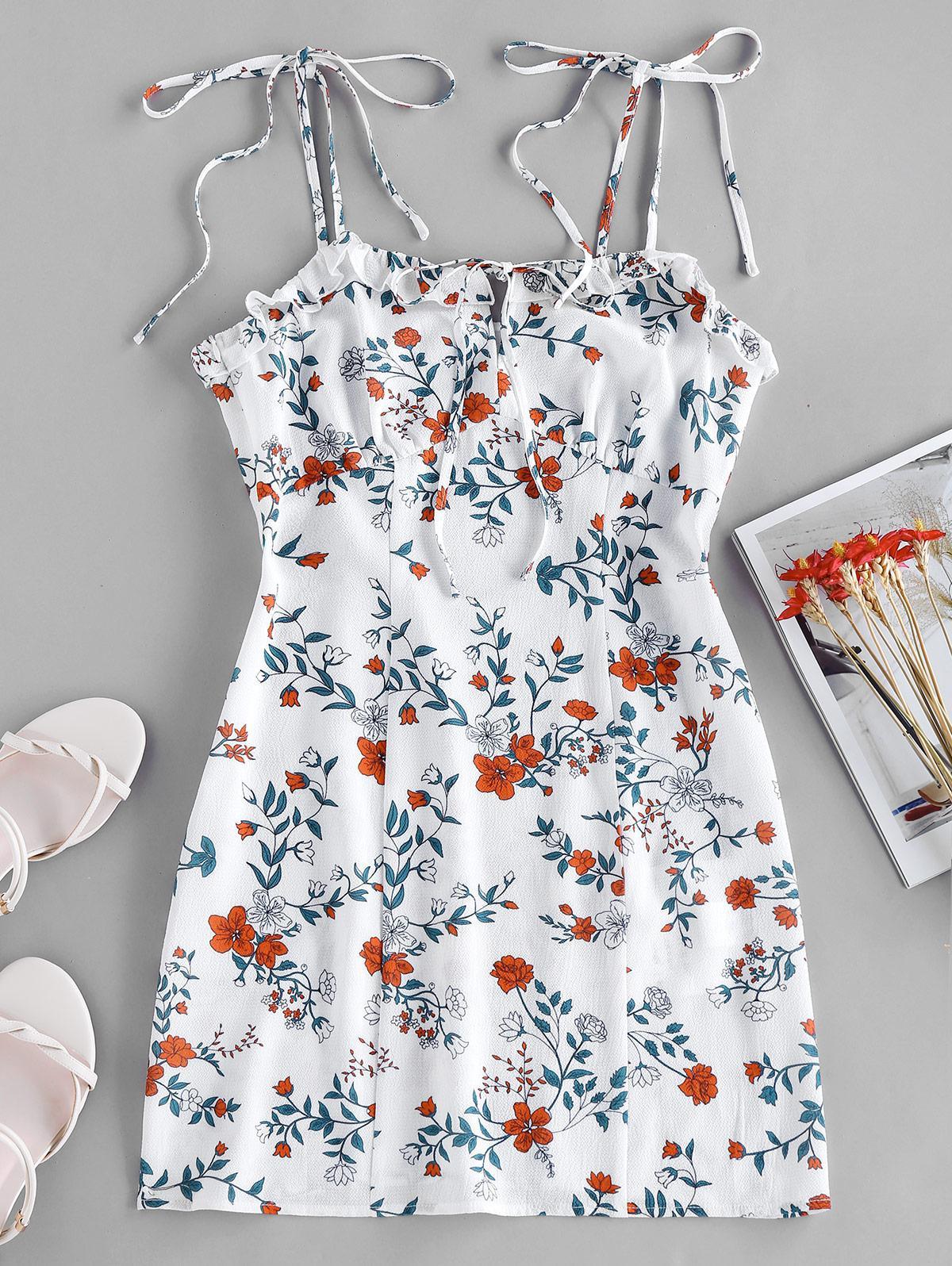 ZAFUL Ditsy Print Slip Mini Dress