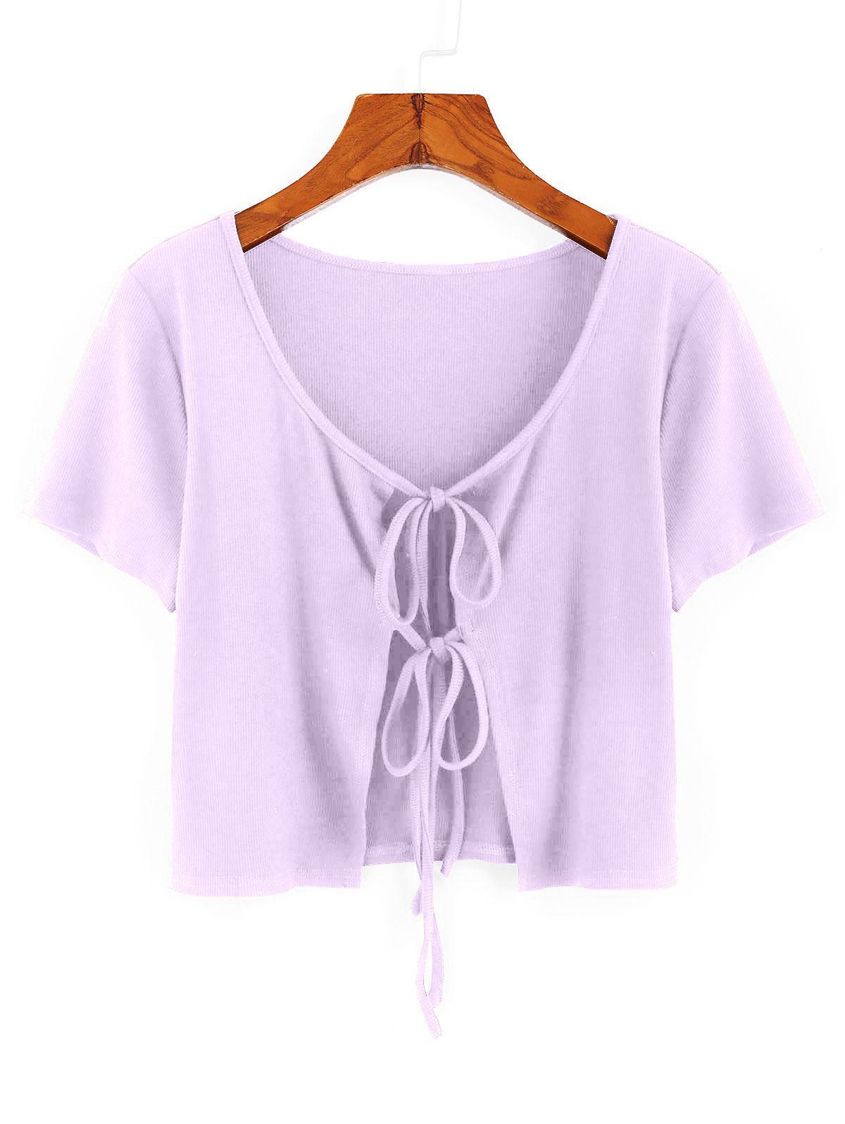 ZAFUL Ribbed Tie Front Crop T-shirt thumbnail