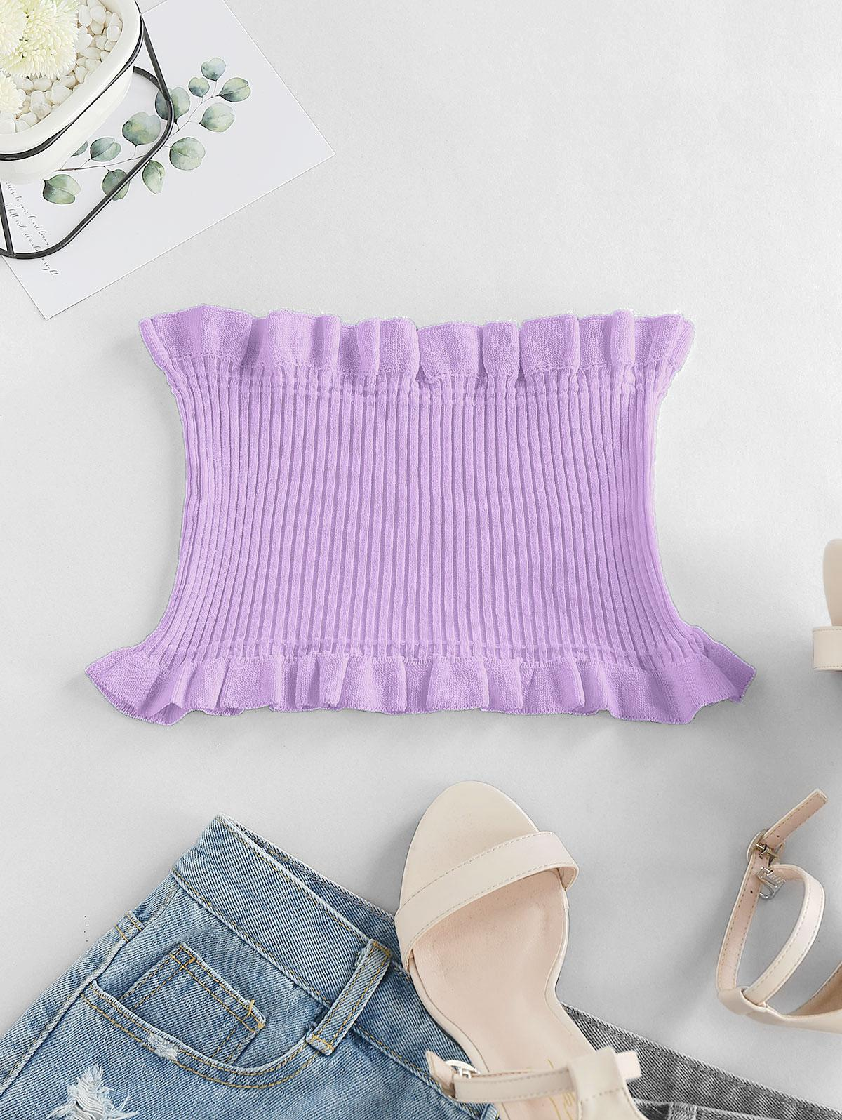 ZAFUL Strapless Ruffled Smocked Crop Top