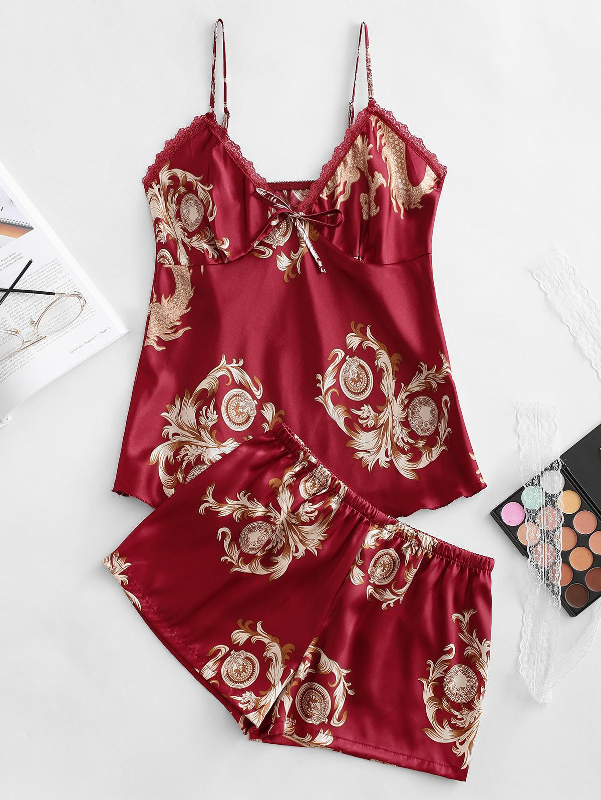Satin Dragon Print Lace Trim Cami Pajamas Set