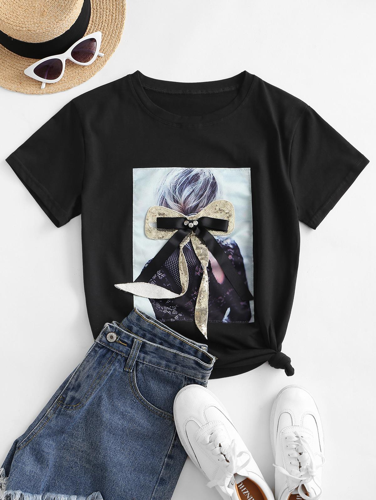 Sequined Bowknot Figure Patch Tee