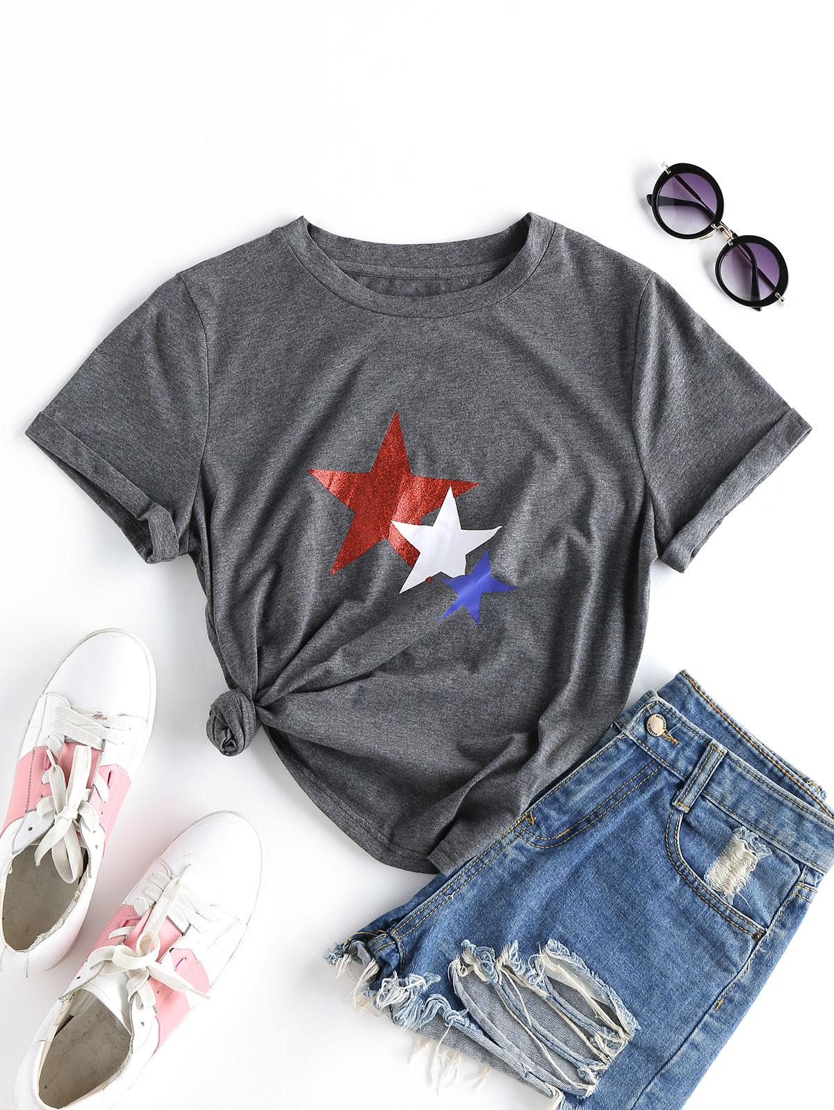 ZAFUL Star Print Cuffed T-shirt thumbnail